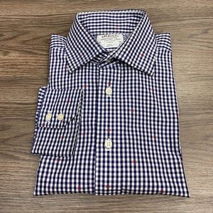 T.M. Lewin Navy & White Gingham Slim Shirt 16-35